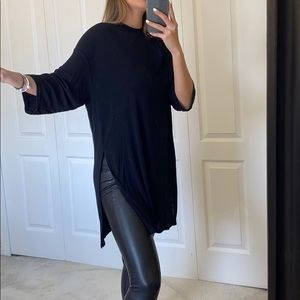 OAK + FORT   High neck Tunic top with slit